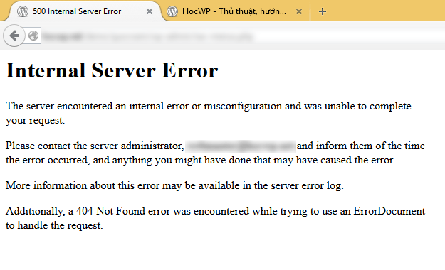 Lỗi 500 Internal Server Error trên WordPress