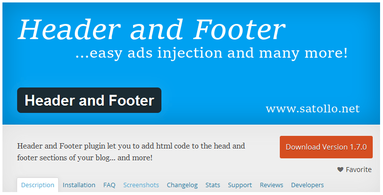 Header and Footer plugin